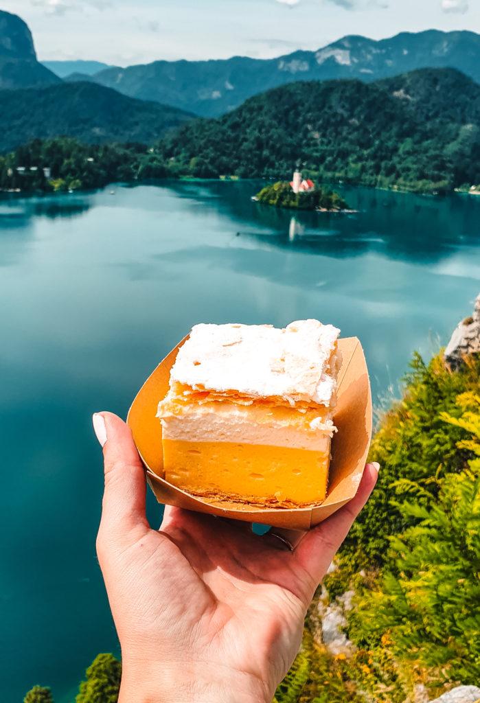 Kremšnita in Lake Bled, Slovenia