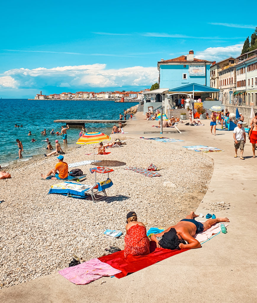 Fornače Beach in Piran, Slovenia