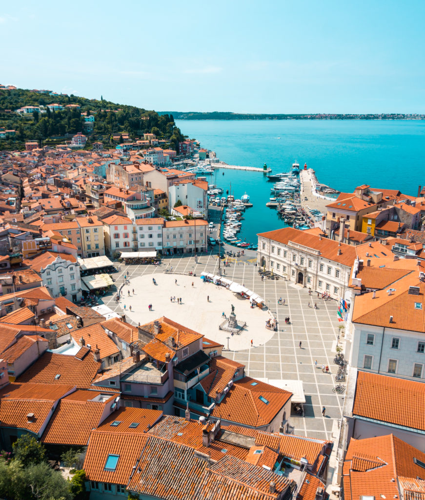 View from the Bell Tower Zvonik in Piran, Slovenia