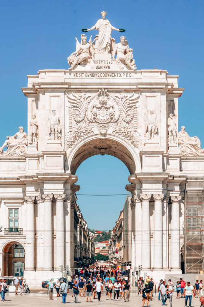 Rua Augusta Arch view towards the city in Lisbon